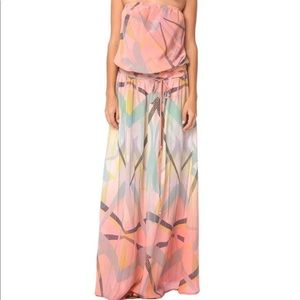 NEW Gypsy05 EOS Pink Printed Silk Strapless Dress